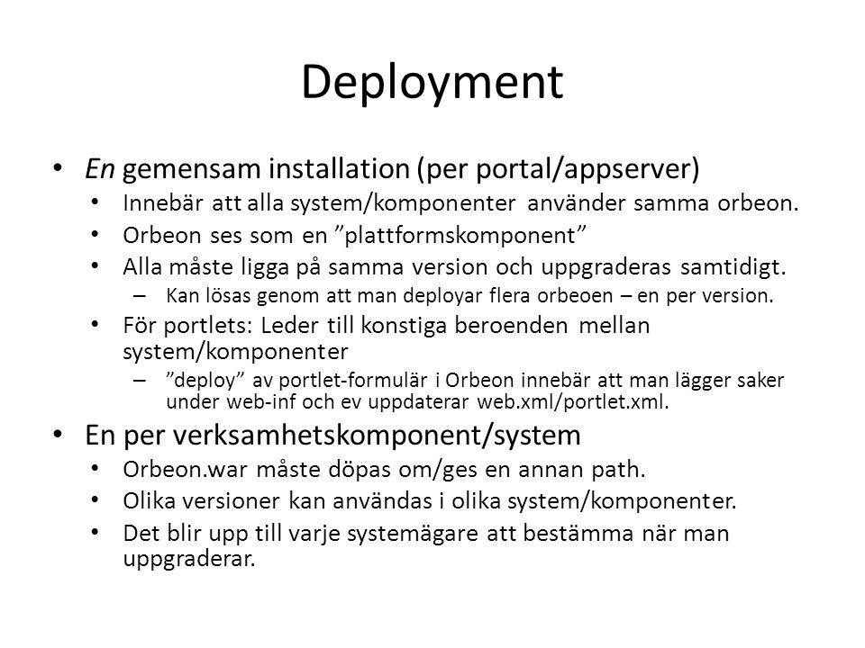 Deployment En gemensam installation (per portal/appserver) Innebär att alla system/komponenter använder samma orbeon.