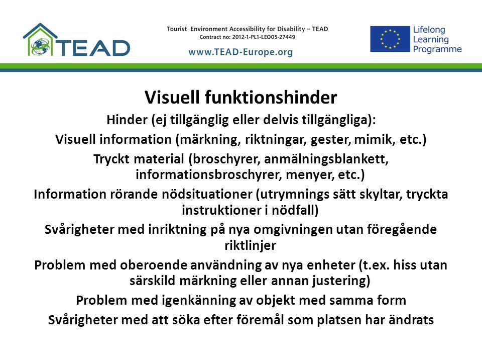 Visuell funktionshinder Hinder (ej tillgänglig eller delvis tillgängliga): Visuell information (märkning, riktningar, gester, mimik, etc.) Tryckt mate