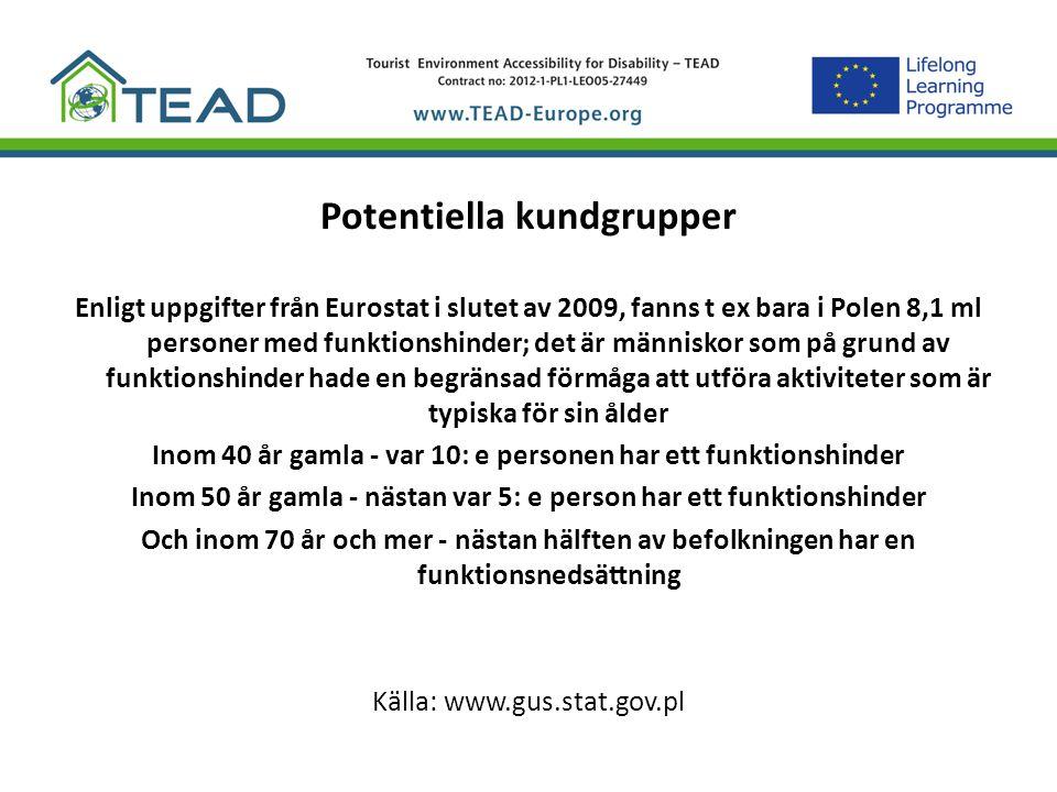 Potentiella kundgrupper Enligt uppgifter från Eurostat i slutet av 2009, fanns t ex bara i Polen 8,1 ml personer med funktionshinder; det är människor