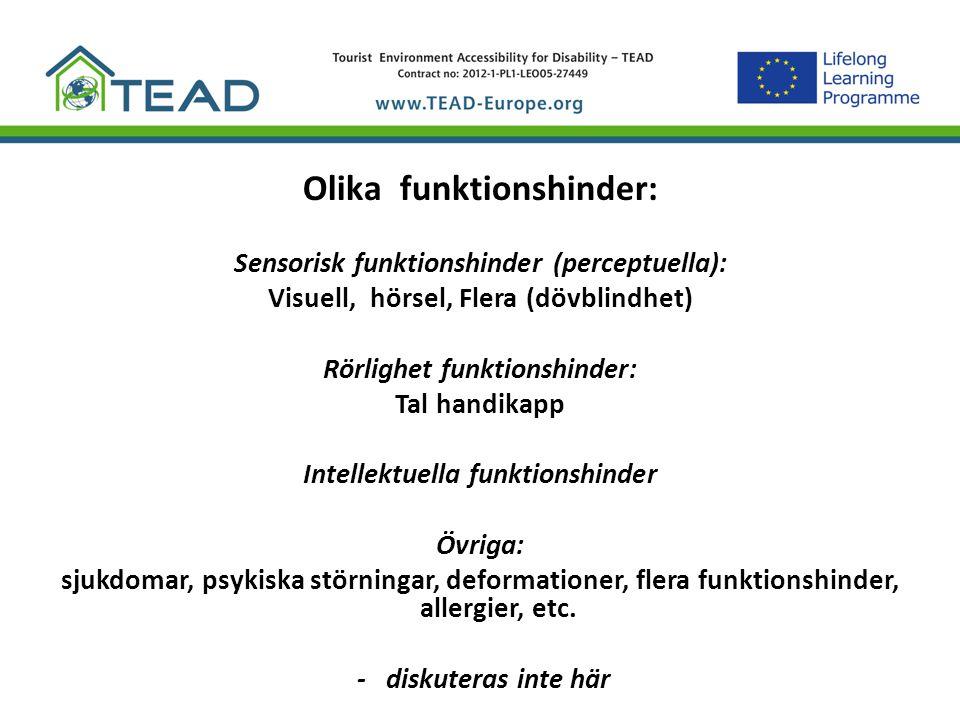 Olika funktionshinder: Sensorisk funktionshinder (perceptuella): Visuell, hörsel, Flera (dövblindhet) Rörlighet funktionshinder: Tal handikapp Intelle