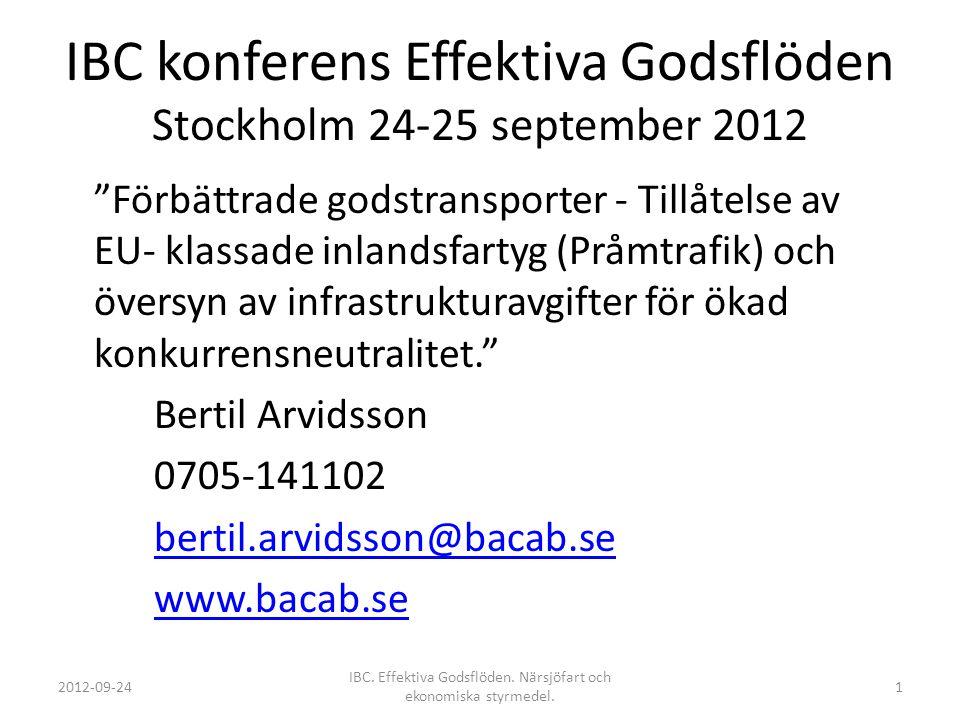 """IBC konferens Effektiva Godsflöden Stockholm 24-25 september 2012 """"Förbättrade godstransporter - Tillåtelse av EU- klassade inlandsfartyg (Pråmtrafik)"""