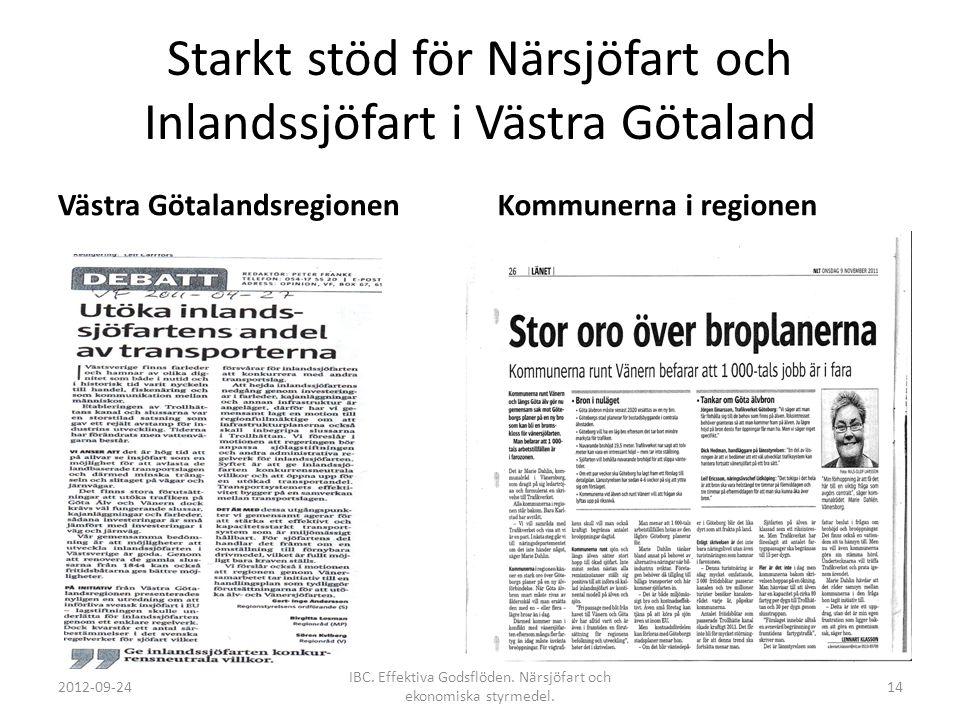 Starkt stöd för Närsjöfart och Inlandssjöfart i Västra Götaland Västra GötalandsregionenKommunerna i regionen 2012-09-24 IBC. Effektiva Godsflöden. Nä