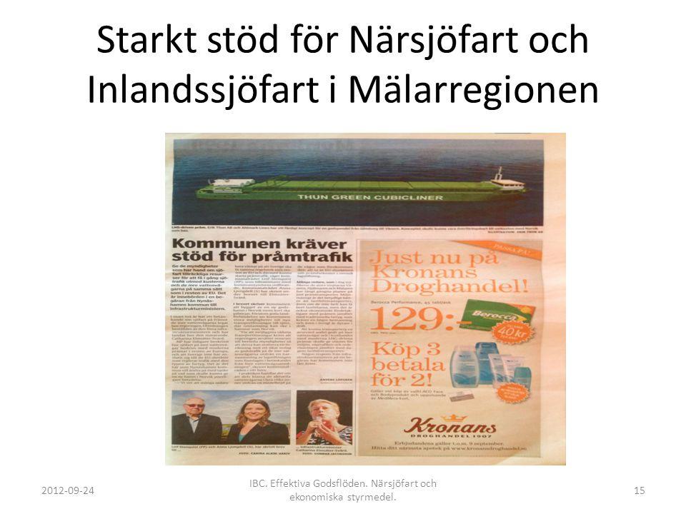 Starkt stöd för Närsjöfart och Inlandssjöfart i Mälarregionen 2012-09-24 IBC. Effektiva Godsflöden. Närsjöfart och ekonomiska styrmedel. 15