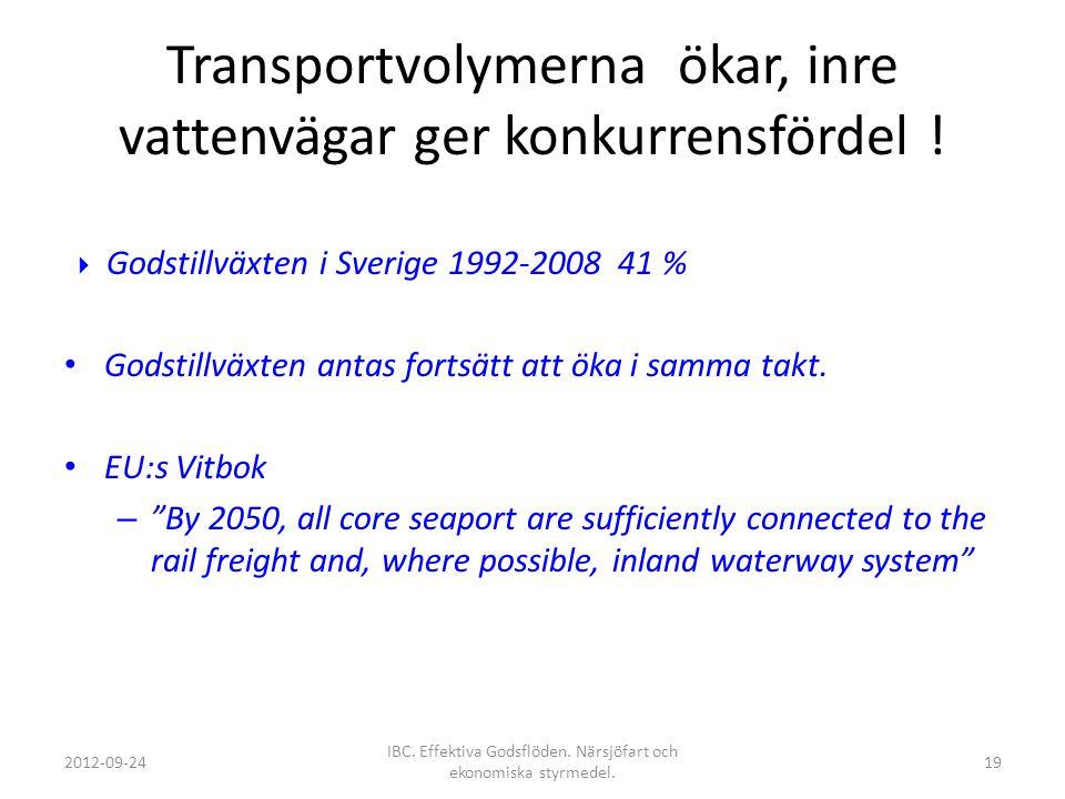 Transportvolymerna ökar, inre vattenvägar ger konkurrensfördel !  Godstillväxten i Sverige 1992-2008 41 % Godstillväxten antas fortsätt att öka i sam