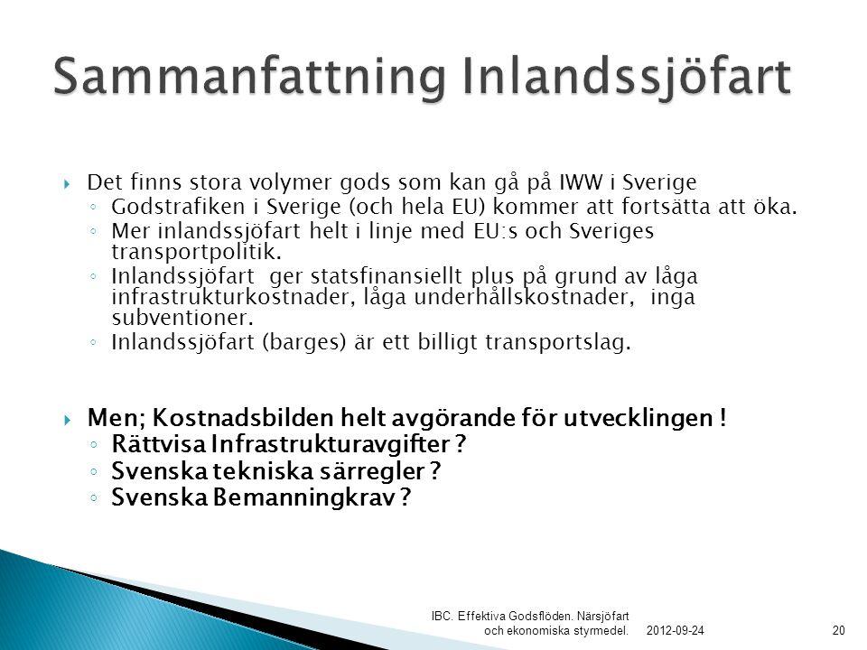  Det finns stora volymer gods som kan gå på IWW i Sverige ◦ Godstrafiken i Sverige (och hela EU) kommer att fortsätta att öka. ◦ Mer inlandssjöfart h