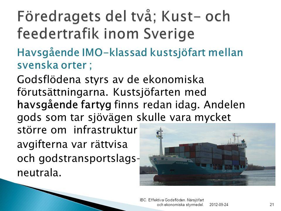 Havsgående IMO-klassad kustsjöfart mellan svenska orter ; Godsflödena styrs av de ekonomiska förutsättningarna. Kustsjöfarten med havsgående fartyg fi