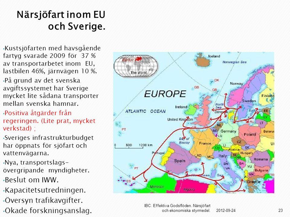 Närsjöfart inom EU och Sverige. Kustsjöfarten med havsgående fartyg svarade 2009 för 37 % av transportarbetet inom EU, lastbilen 46%, järnvägen 10 %.