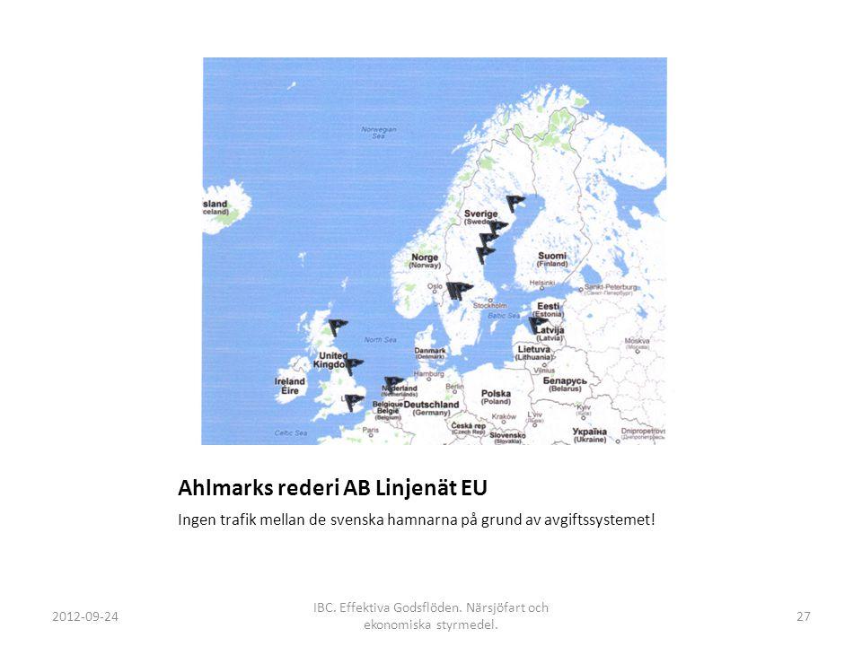 Ahlmarks rederi AB Linjenät EU Ingen trafik mellan de svenska hamnarna på grund av avgiftssystemet! 2012-09-24 IBC. Effektiva Godsflöden. Närsjöfart o