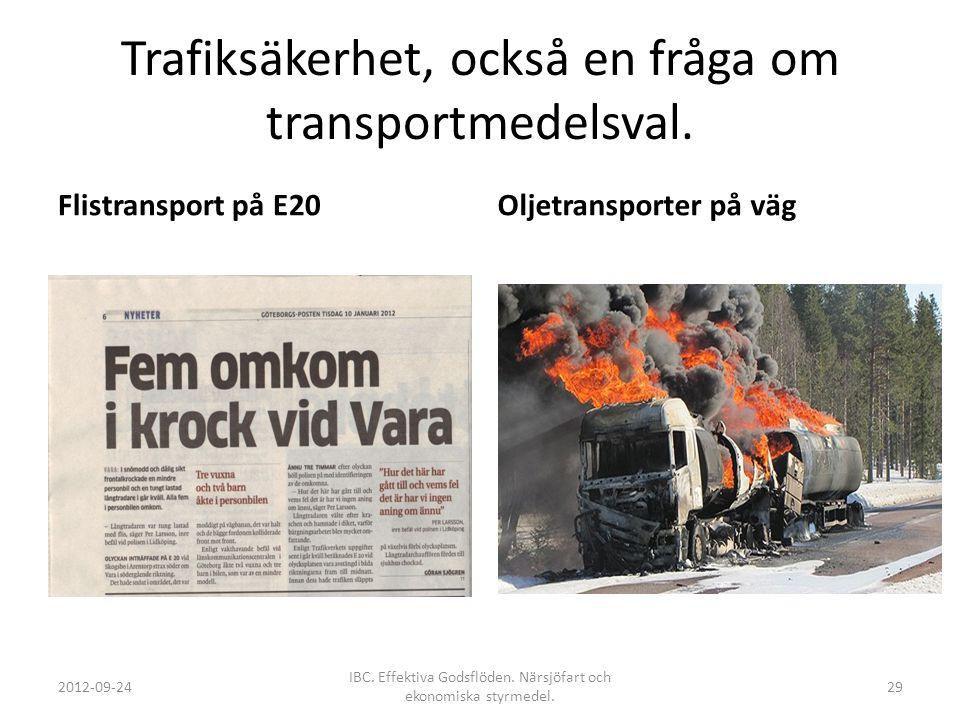Trafiksäkerhet, också en fråga om transportmedelsval. Flistransport på E20Oljetransporter på väg 2012-09-24 IBC. Effektiva Godsflöden. Närsjöfart och