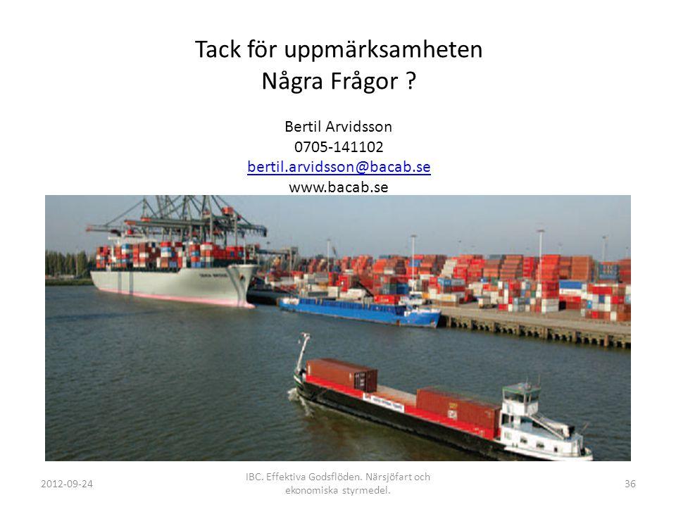 Tack för uppmärksamheten Några Frågor ? Bertil Arvidsson 0705-141102 bertil.arvidsson@bacab.se www.bacab.se bertil.arvidsson@bacab.se 2012-09-24 IBC.
