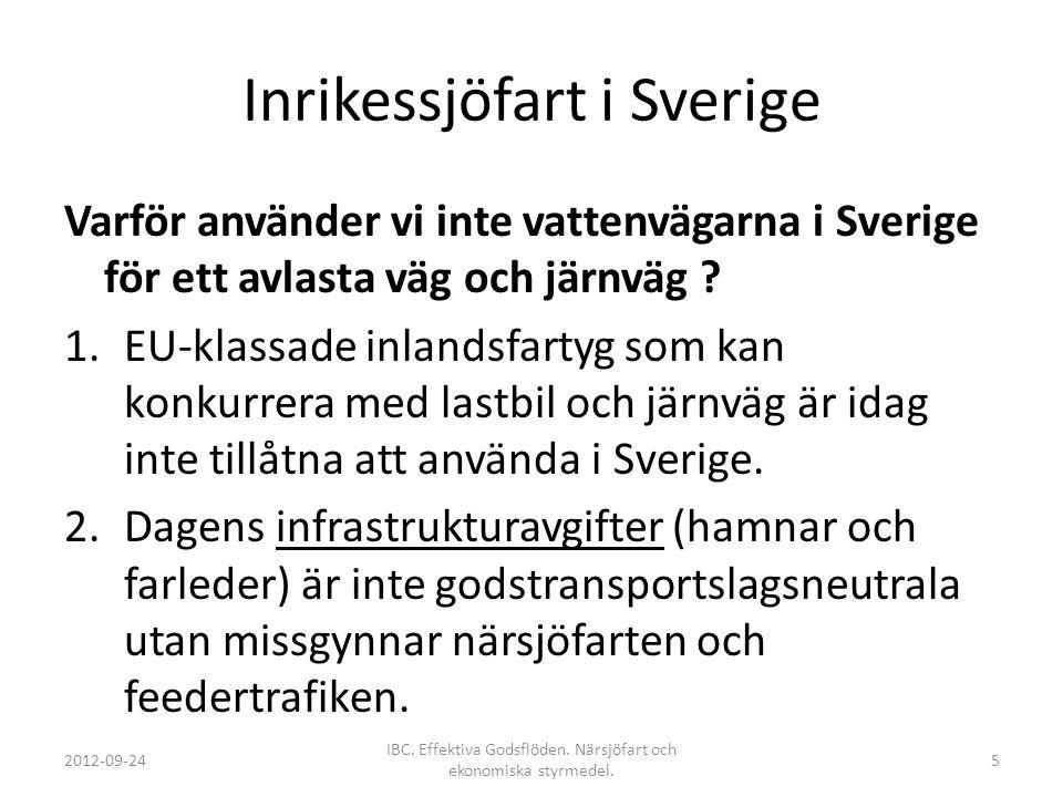 Inrikessjöfart i Sverige Varför använder vi inte vattenvägarna i Sverige för ett avlasta väg och järnväg ? 1.EU-klassade inlandsfartyg som kan konkurr
