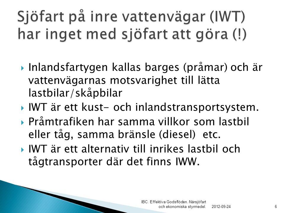  Inlandsfartygen kallas barges (pråmar) och är vattenvägarnas motsvarighet till lätta lastbilar/skåpbilar  IWT är ett kust- och inlandstransportsyst