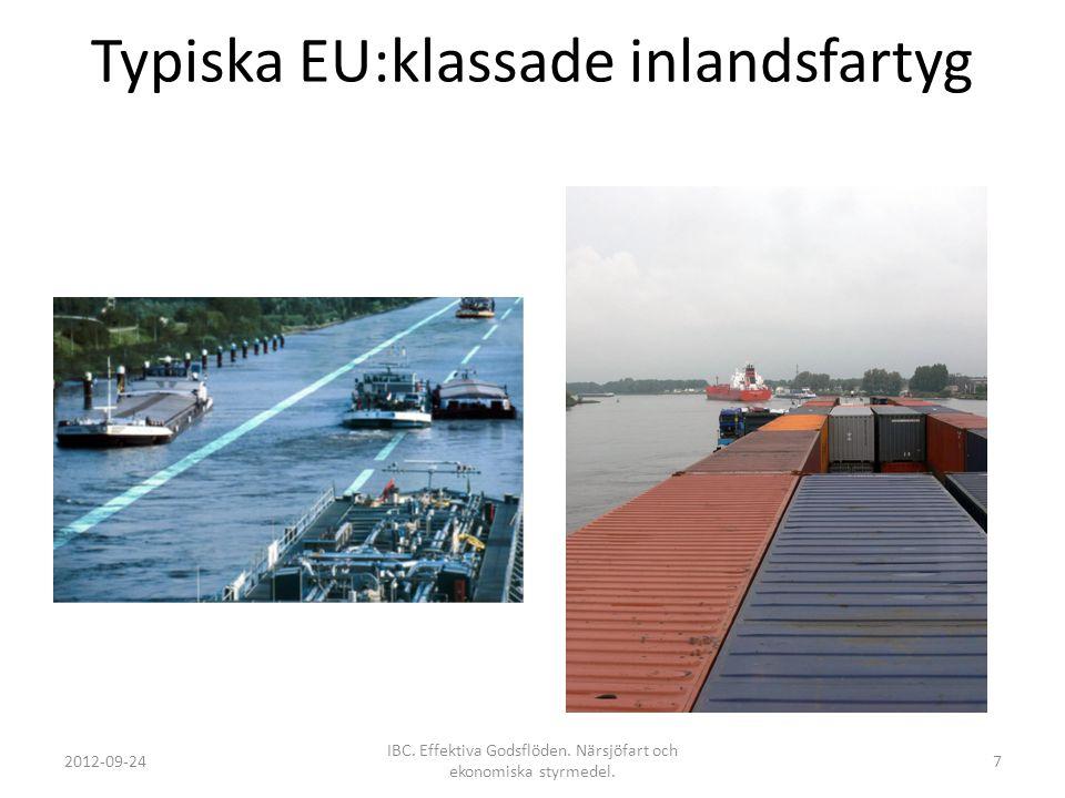 Typiska EU:klassade inlandsfartyg 2012-09-24 IBC. Effektiva Godsflöden. Närsjöfart och ekonomiska styrmedel. 7
