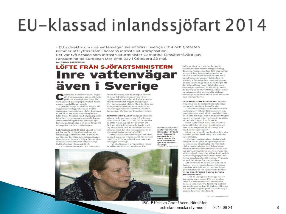 EU-Inlandssjöfart i Sverige 2014 .