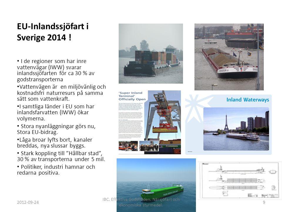 EU-Inlandssjöfart i Sverige 2014 ! I de regioner som har inre vattenvägar (IWW) svarar inlandssjöfarten för ca 30 % av godstransporterna Vattenvägen ä