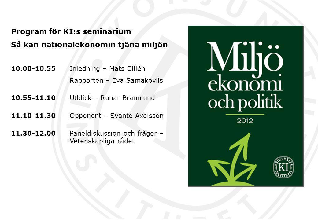 Program för KI:s seminarium Så kan nationalekonomin tjäna miljön 10.00-10.55 Inledning – Mats Dillén Rapporten – Eva Samakovlis 10.55-11.10Utblick – R