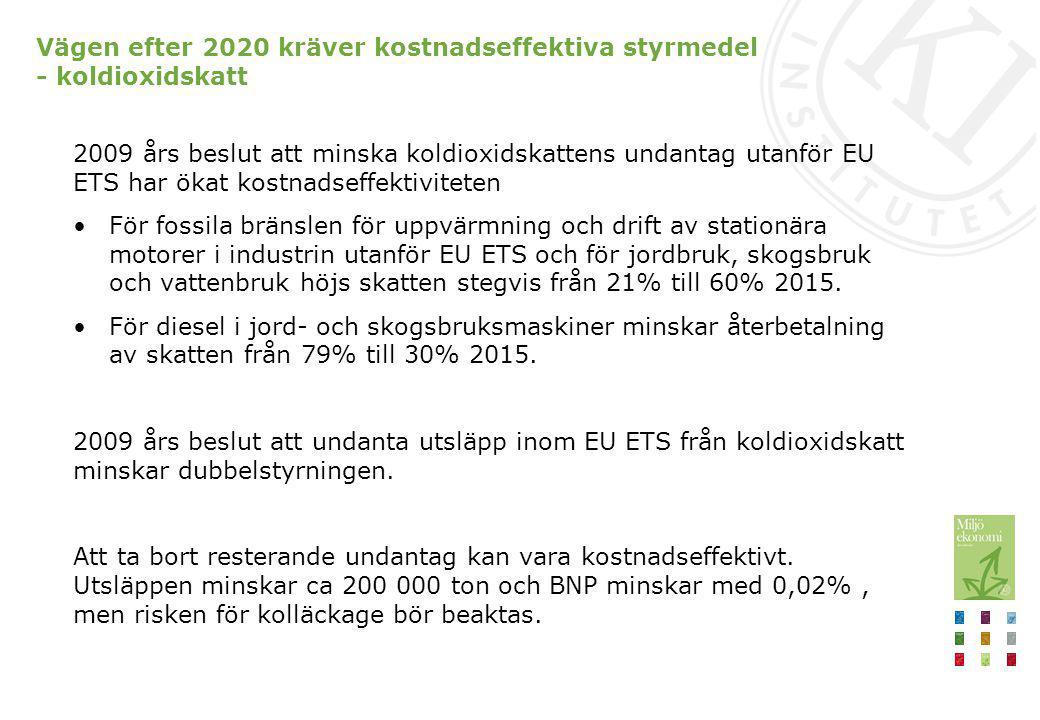 2009 års beslut att minska koldioxidskattens undantag utanför EU ETS har ökat kostnadseffektiviteten För fossila bränslen för uppvärmning och drift av