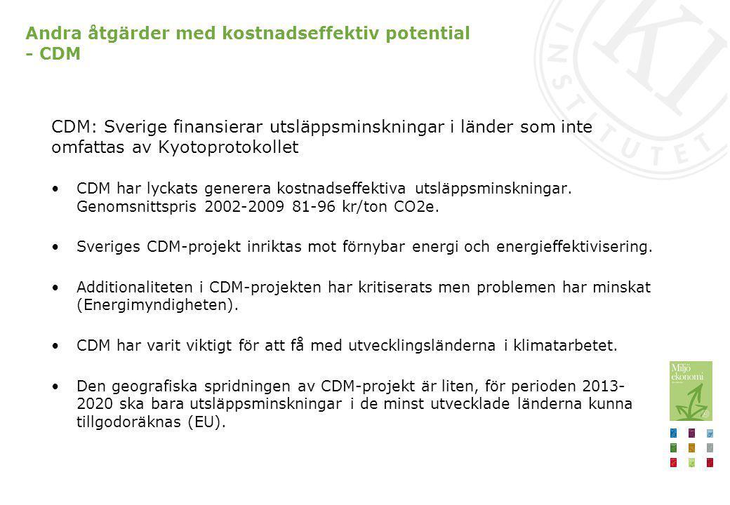 Andra åtgärder med kostnadseffektiv potential - CDM CDM: Sverige finansierar utsläppsminskningar i länder som inte omfattas av Kyotoprotokollet CDM ha