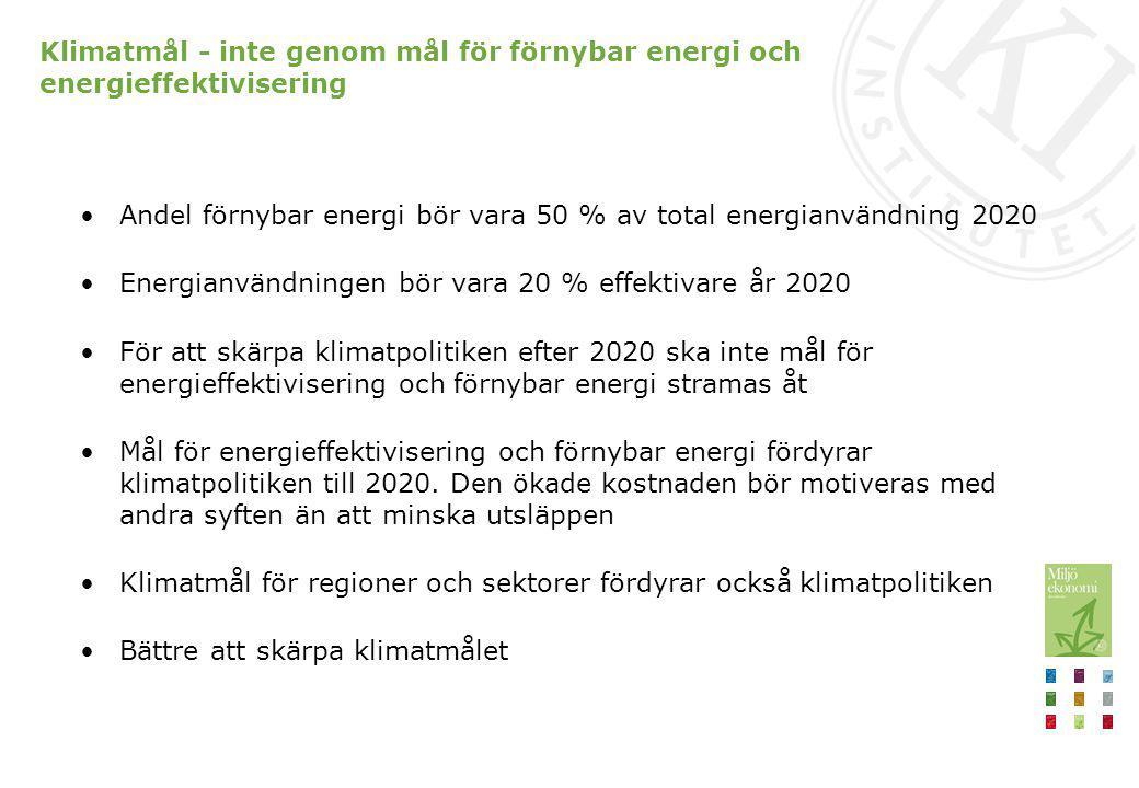 Klimatmål - inte genom mål för förnybar energi och energieffektivisering Andel förnybar energi bör vara 50 % av total energianvändning 2020 Energianvä