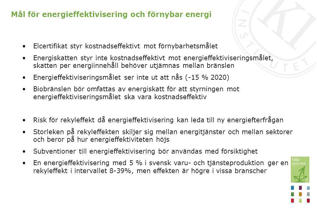 Mål för energieffektivisering och förnybar energi Elcertifikat styr kostnadseffektivt mot förnybarhetsmålet Energiskatten styr inte kostnadseffektivt