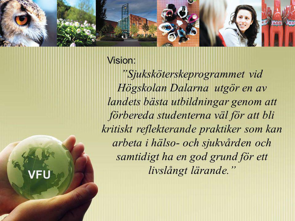 Sjuksköterskeprogrammet vid Högskolan Dalarna utgör en av landets bästa utbildningar genom att förbereda studenterna väl för att bli kritiskt reflekterande praktiker som kan arbeta i hälso- och sjukvården och samtidigt ha en god grund för ett livslångt lärande. Vision: VFU