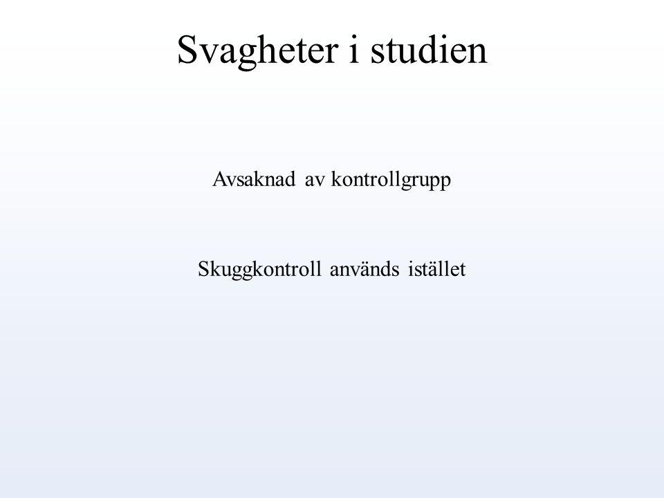 Svagheter i studien Avsaknad av kontrollgrupp Skuggkontroll används istället