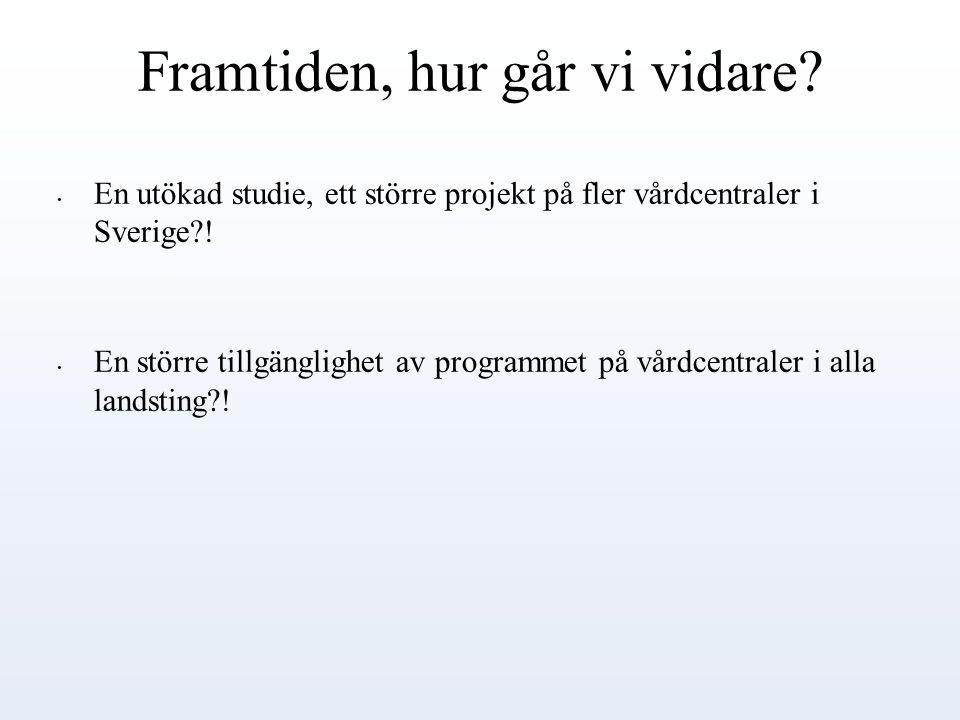 Framtiden, hur går vi vidare? En utökad studie, ett större projekt på fler vårdcentraler i Sverige?! En större tillgänglighet av programmet på vårdcen