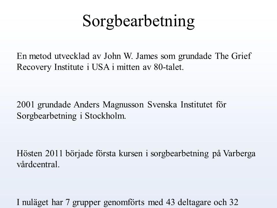 Sorgbearbetning En metod utvecklad av John W. James som grundade The Grief Recovery Institute i USA i mitten av 80-talet. 2001 grundade Anders Magnuss