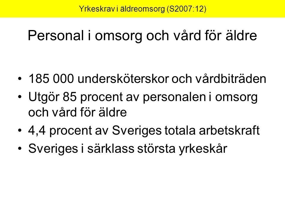 Yrkeskrav i äldreomsorg (S2007:12) Konsekvenser av våra förslag Möjligheter att rekrytera personal Ökad jämställdhet Kostnader Vem/vilka ska betala.