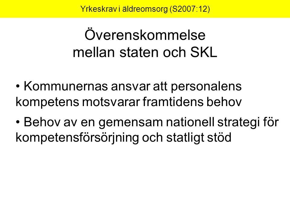 Yrkeskrav i äldreomsorg (S2007:12) Överenskommelse mellan staten och SKL Kommunernas ansvar att personalens kompetens motsvarar framtidens behov Behov