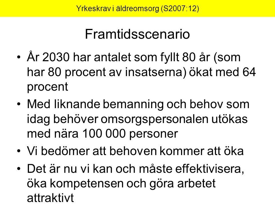 Framtidsscenario År 2030 har antalet som fyllt 80 år (som har 80 procent av insatserna) ökat med 64 procent Med liknande bemanning och behov som idag