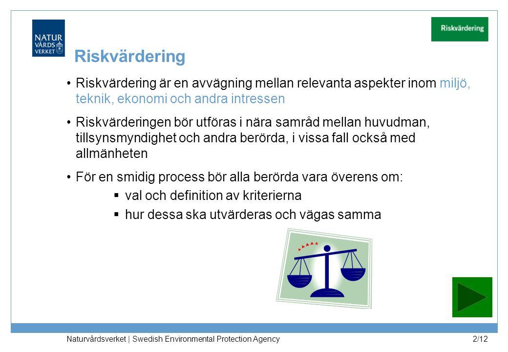 Naturvårdsverket | Swedish Environmental Protection Agency 2/12 Riskvärdering Riskvärdering är en avvägning mellan relevanta aspekter inom miljö, tekn
