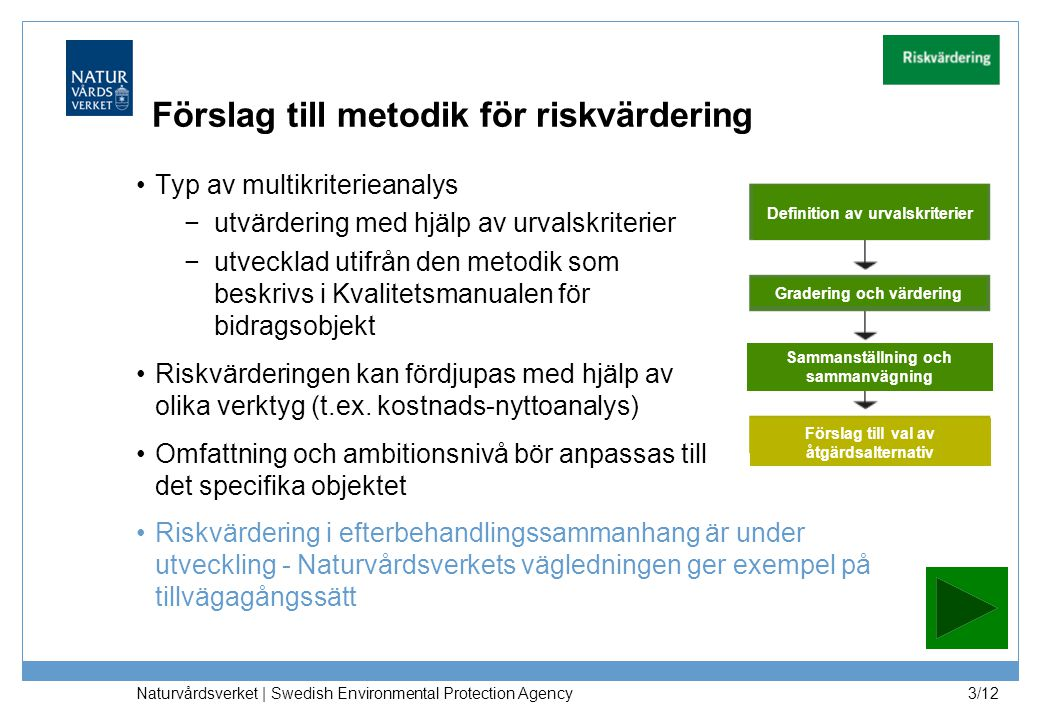 Naturvårdsverket | Swedish Environmental Protection Agency 3/12 Förslag till metodik för riskvärdering Typ av multikriterieanalys −utvärdering med hjä