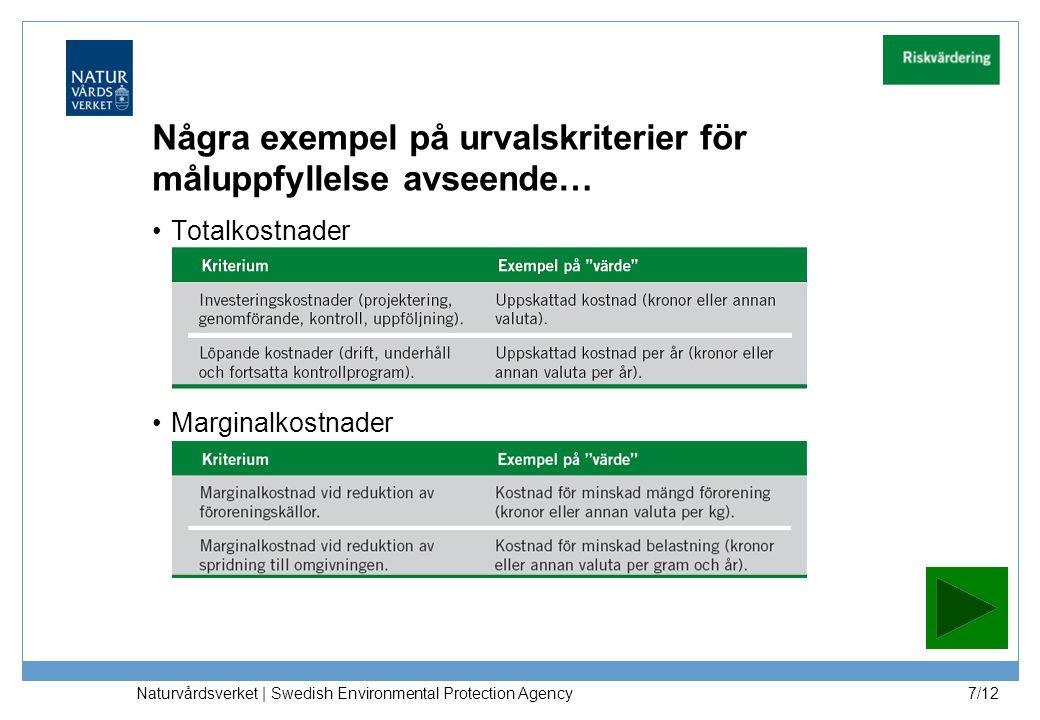 Totalkostnader Marginalkostnader Naturvårdsverket | Swedish Environmental Protection Agency 7/12 Några exempel på urvalskriterier för måluppfyllelse a