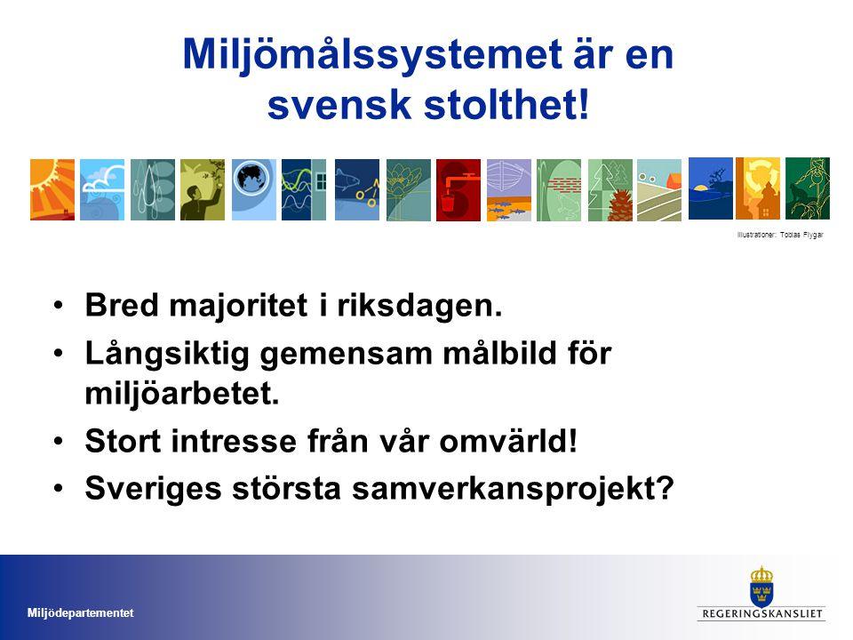 Miljödepartementet Miljömålssystemet är en svensk stolthet.