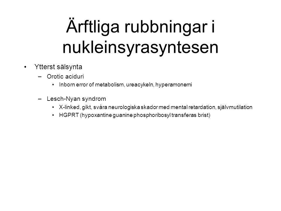 Ärftliga rubbningar i nukleinsyrasyntesen Ytterst sälsynta –Orotic aciduri Inborn error of metabolism, ureacykeln, hyperamonemi –Lesch-Nyan syndrom X-