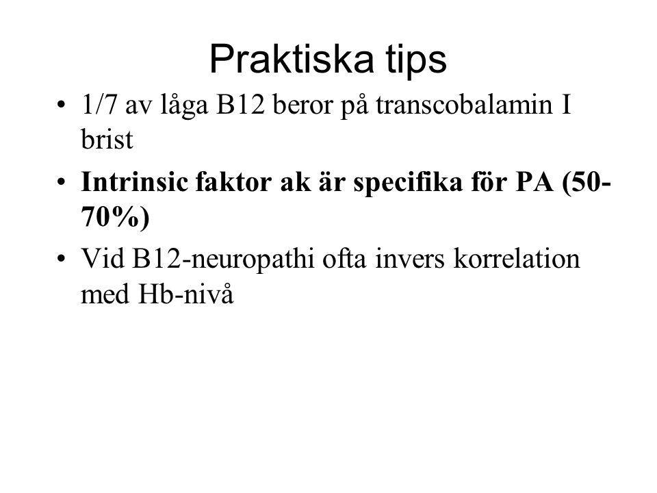 Praktiska tips 1/7 av låga B12 beror på transcobalamin I brist Intrinsic faktor ak är specifika för PA (50- 70%) Vid B12-neuropathi ofta invers korrel