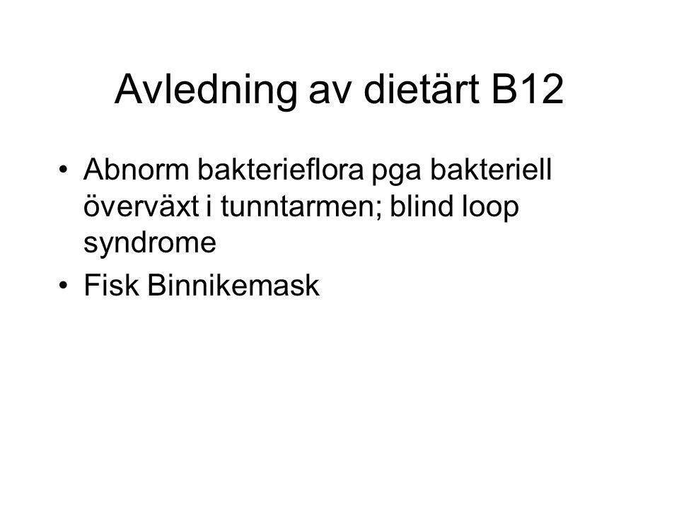 Avledning av dietärt B12 Abnorm bakterieflora pga bakteriell överväxt i tunntarmen; blind loop syndrome Fisk Binnikemask