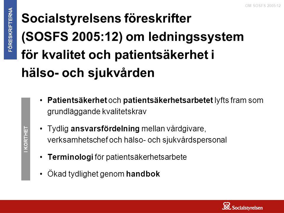 OM SOSFS 2005:12 Socialstyrelsens föreskrifter (SOSFS 2005:12) om ledningssystem för kvalitet och patientsäkerhet i hälso- och sjukvården Patientsäker