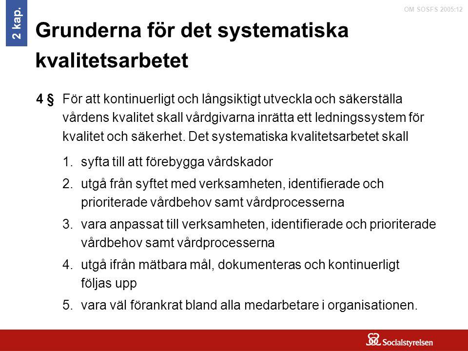 OM SOSFS 2005:12 Grunderna för det systematiska kvalitetsarbetet För att kontinuerligt och långsiktigt utveckla och säkerställa vårdens kvalitet skall