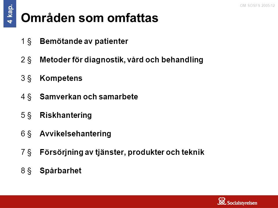 OM SOSFS 2005:12 Områden som omfattas 1 §Bemötande av patienter 2 §Metoder för diagnostik, vård och behandling 3 §Kompetens 4 §Samverkan och samarbete