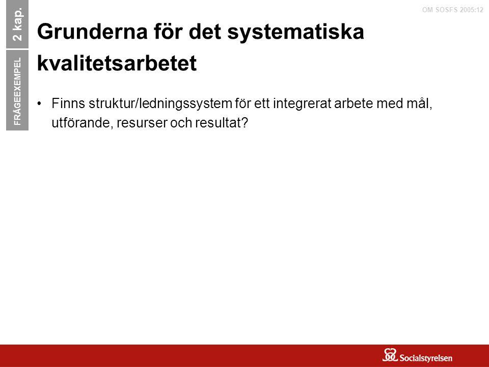 OM SOSFS 2005:12 Grunderna för det systematiska kvalitetsarbetet Finns struktur/ledningssystem för ett integrerat arbete med mål, utförande, resurser