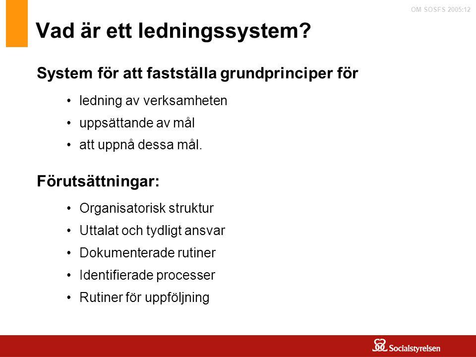 OM SOSFS 2005:12 Vad är ett ledningssystem? System för att fastställa grundprinciper för Förutsättningar: ledning av verksamheten uppsättande av mål a