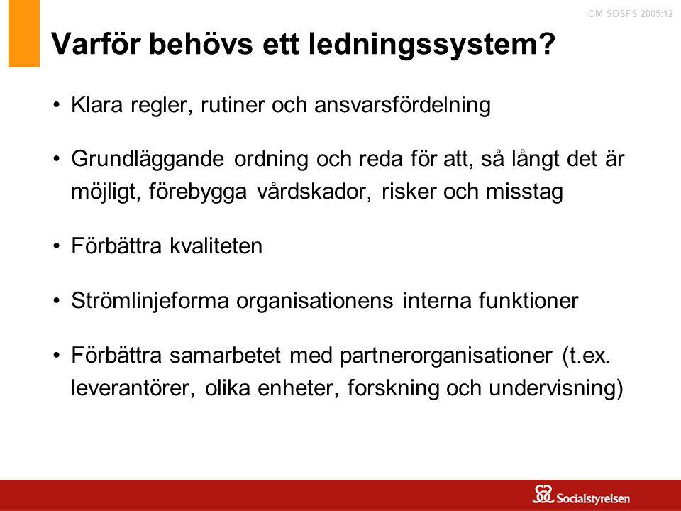 OM SOSFS 2005:12 Varför behövs ett ledningssystem? Klara regler, rutiner och ansvarsfördelning Grundläggande ordning och reda för att, så långt det är