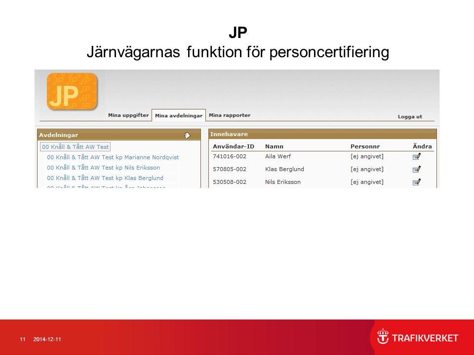 112014-12-11 JP Järnvägarnas funktion för personcertifiering