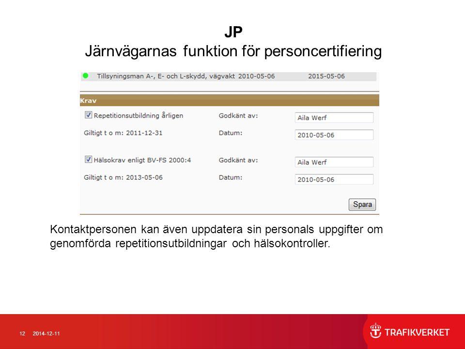 122014-12-11 Kontaktpersonen kan även uppdatera sin personals uppgifter om genomförda repetitionsutbildningar och hälsokontroller. JP Järnvägarnas fun