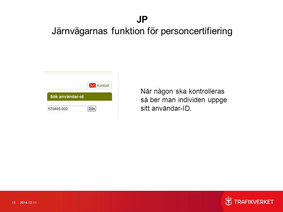 132014-12-11 När någon ska kontrolleras så ber man individen uppge sitt användar-ID. JP Järnvägarnas funktion för personcertifiering