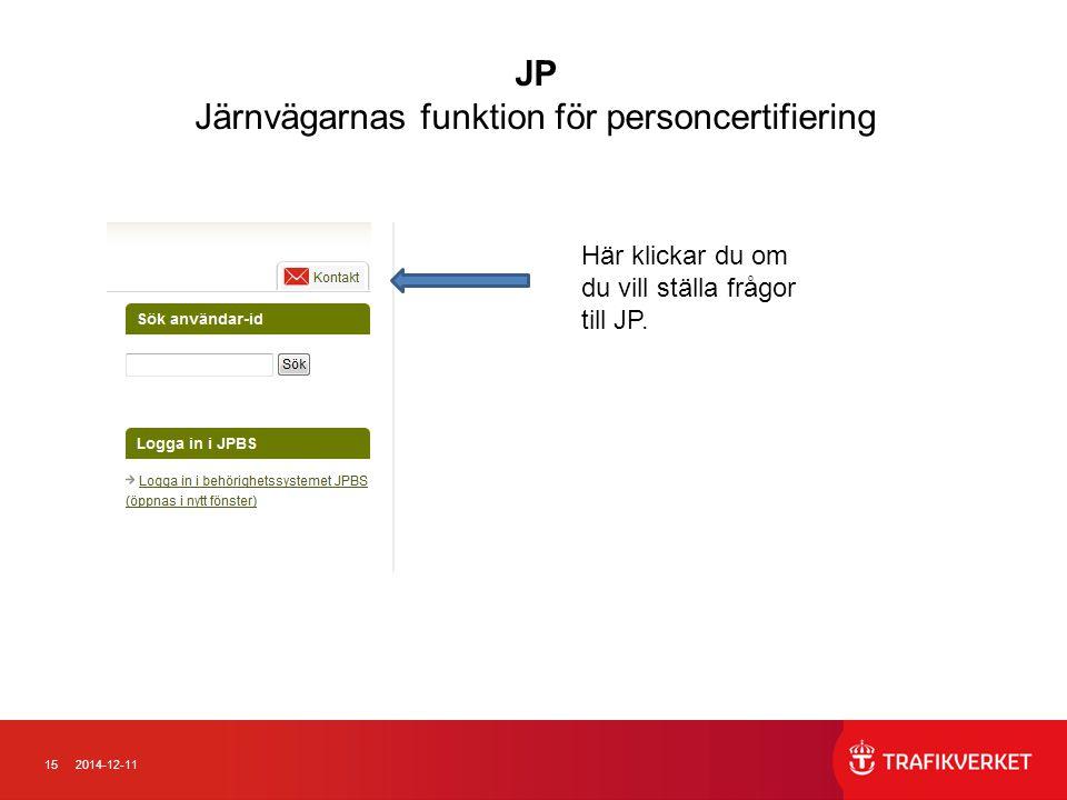 152014-12-11 JP Järnvägarnas funktion för personcertifiering Här klickar du om du vill ställa frågor till JP.