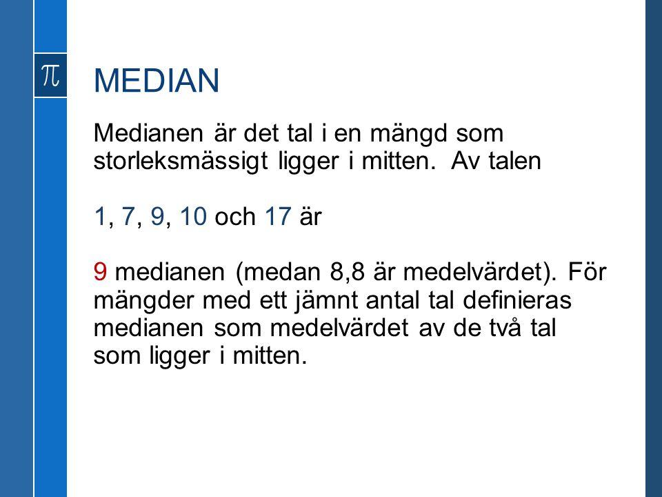 MEDIAN Medianen är det tal i en mängd som storleksmässigt ligger i mitten. Av talen 1, 7, 9, 10 och 17 är 9 medianen (medan 8,8 är medelvärdet). För m