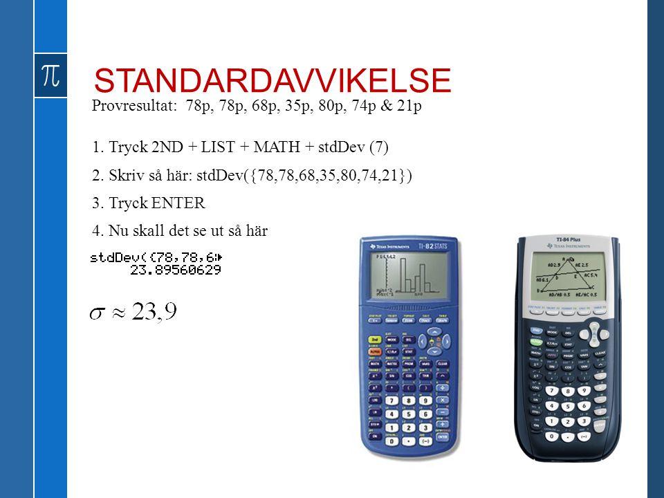 STANDARDAVVIKELSE Provresultat: 78p, 78p, 68p, 35p, 80p, 74p & 21p 1. Tryck 2ND + LIST + MATH + stdDev (7) 2. Skriv så här: stdDev({78,78,68,35,80,74,